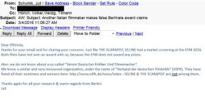 Berlinale responds to false award claims by Jeanne Marie Spicuzza of The Scarapist
